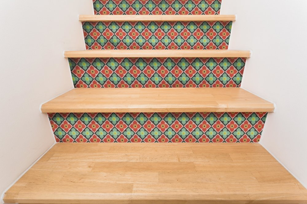 Poppy Coral Mint Stair Riser Decal