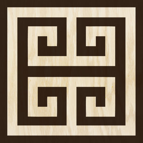 Greek Key Ebony Cream Hardwood Tile