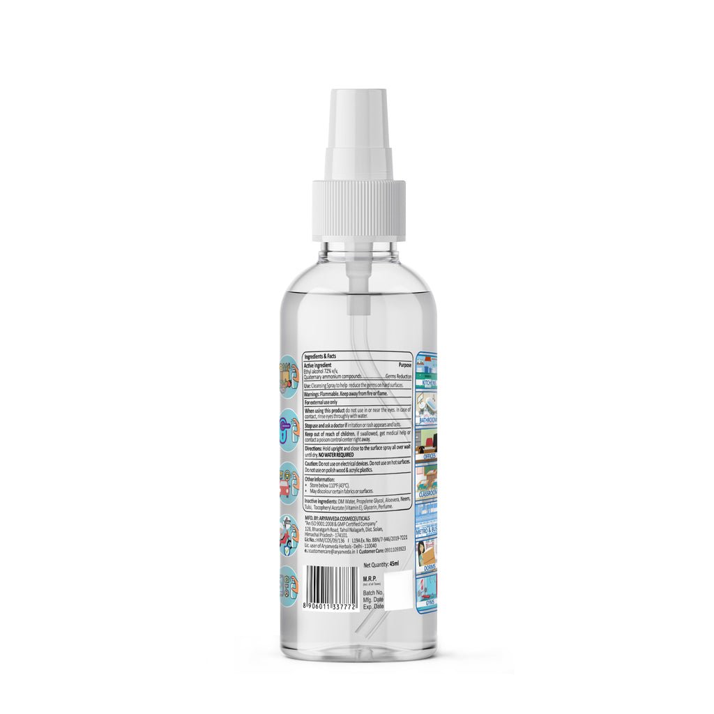 Disinfectant Mist Spray- 45ml - Kills 99.99% Germs Instantly