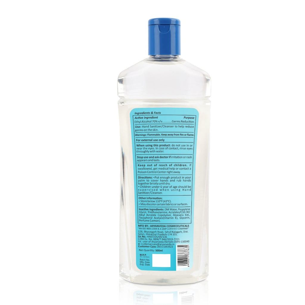 Hand Sanitizer 500ml, Kills 99.99% Germs