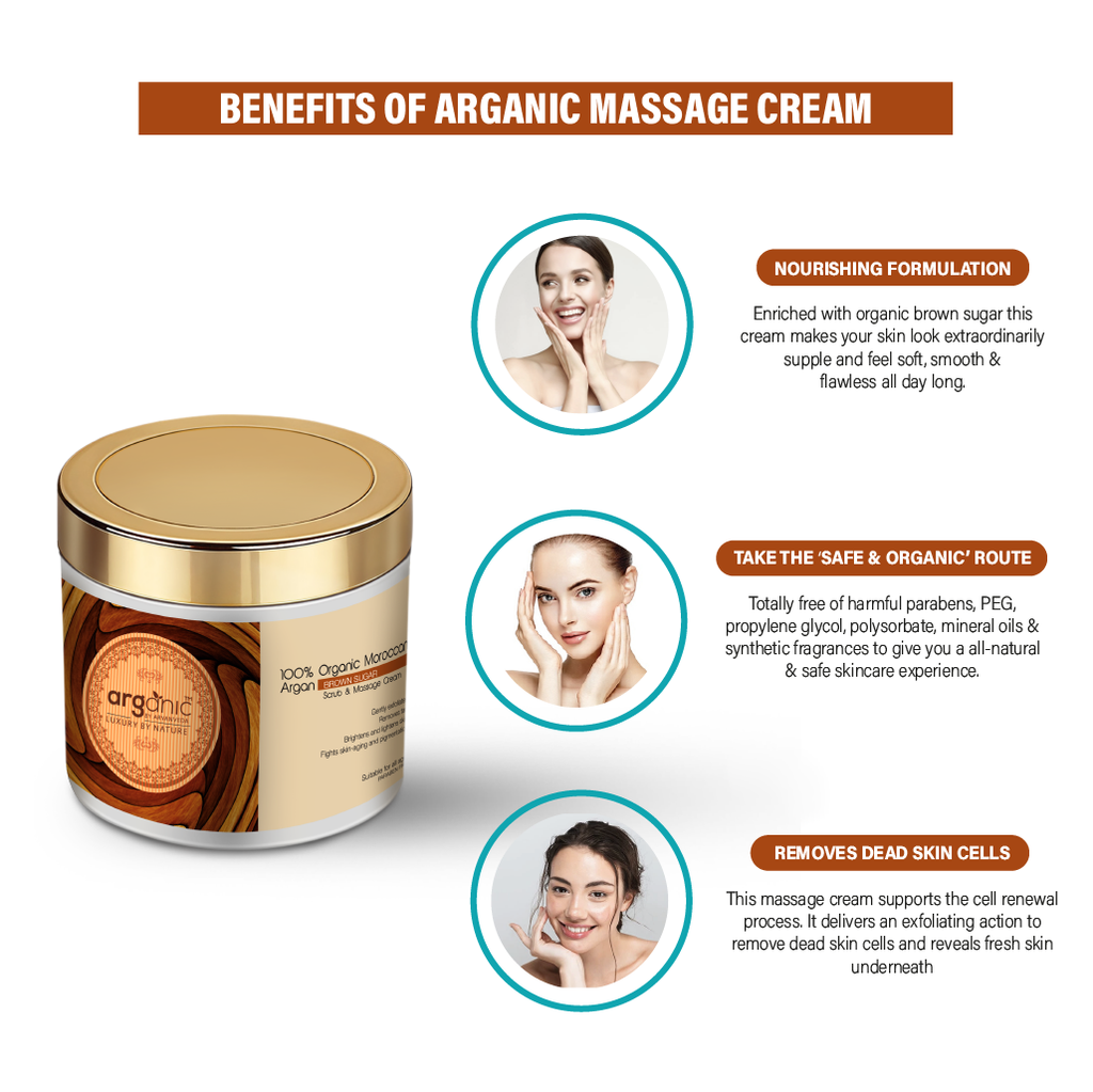 Arganic Brown Sugar Massage Cream -100ml with Pure Argan Oil & No Parabens, Sulphate & Silicones, Revitalizes Thin, Dry, Brittle