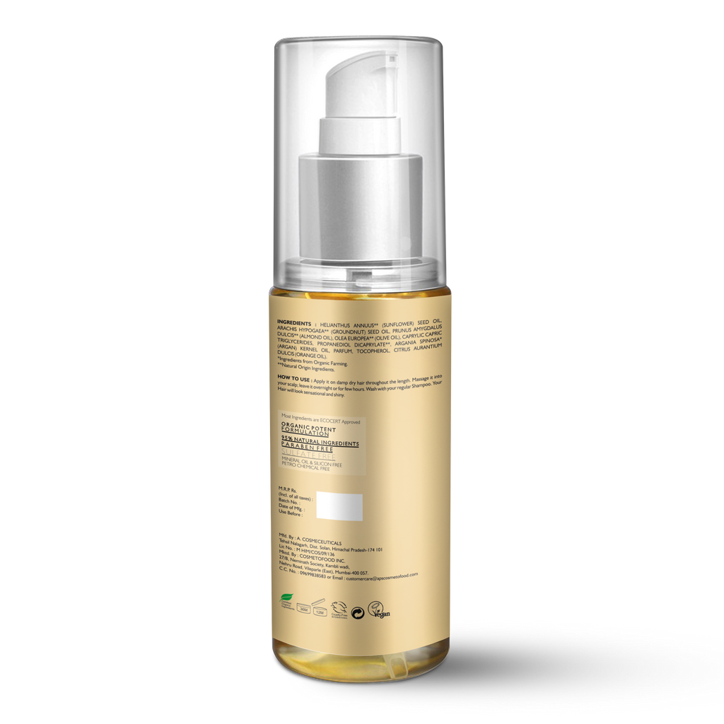 Arganic Hair Oil - 100ml with Pure Argan Oil & No Parabens, Sulphate & Silicones, Revitalizes Thin, Dry, Brittle & Split Ended Hair