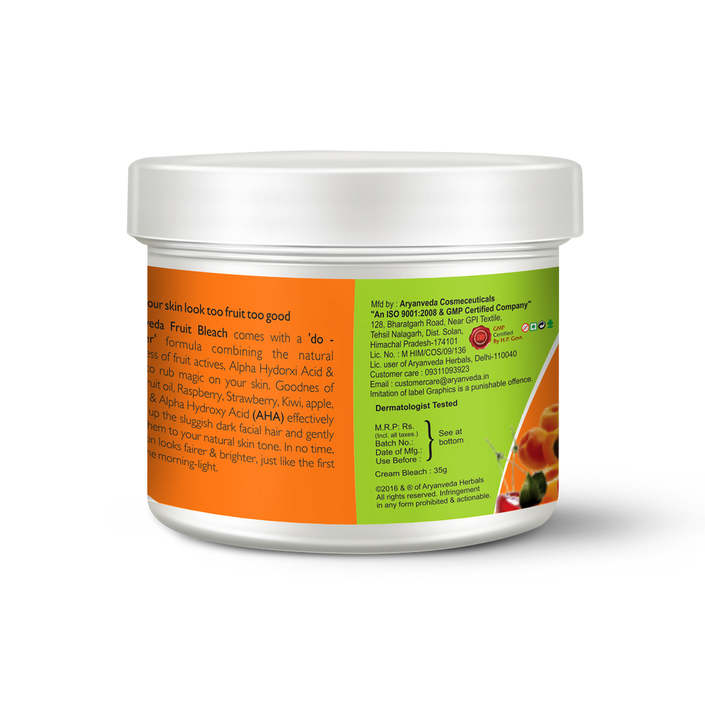 Fruit Bleach Cream - 43gm Herbal & Natural- No Harmful Chemicals - enriched with rich vitamins and Mix fruit extracts to lighten the color of facial hair