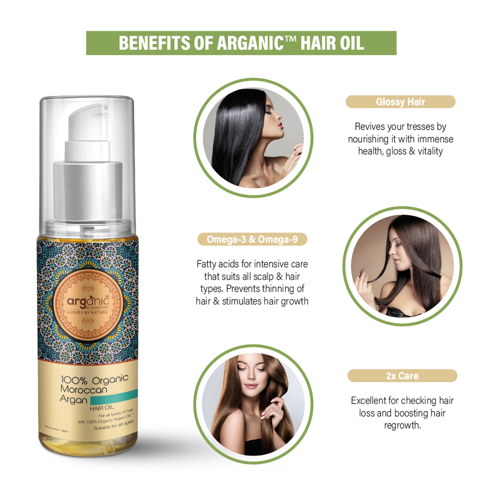 Arganic Hair Oil and Shampoo Combo with Pure Argan Oil & No Parabens, Sulphate & Silicones, Revitalizes Thin, Dry, Brittle & Split Ended Hair