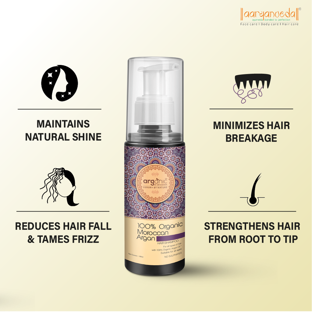 Arganic Hair Shampoo & Hair Tonic Comb With Pure Argan Oil & No Parabens, Sulphate & Silicones, Revitalizes Thin, Dry, Brittle & Split Ended Hair