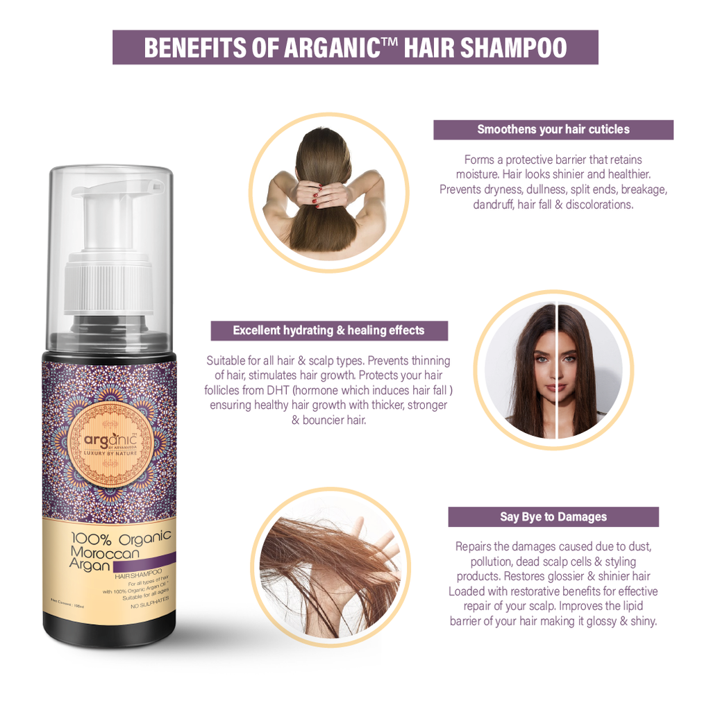 Arganic Hair Shampoo & Hair Mask Combo Pack with Pure Argan Oil & No Parabens, Sulphate & Silicones, Revitalizes Thin, Dry, Brittle & Split Ended Hair