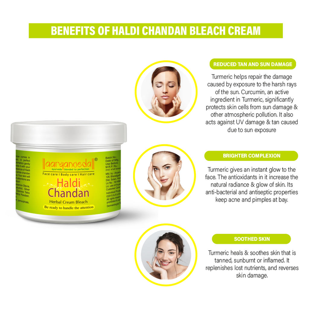 Haldi-Chandan Bleach Cream - 43gm Ayurvedic & Natural- No Harmful Chemicals with the natural extracts of Haldi and Chandan.