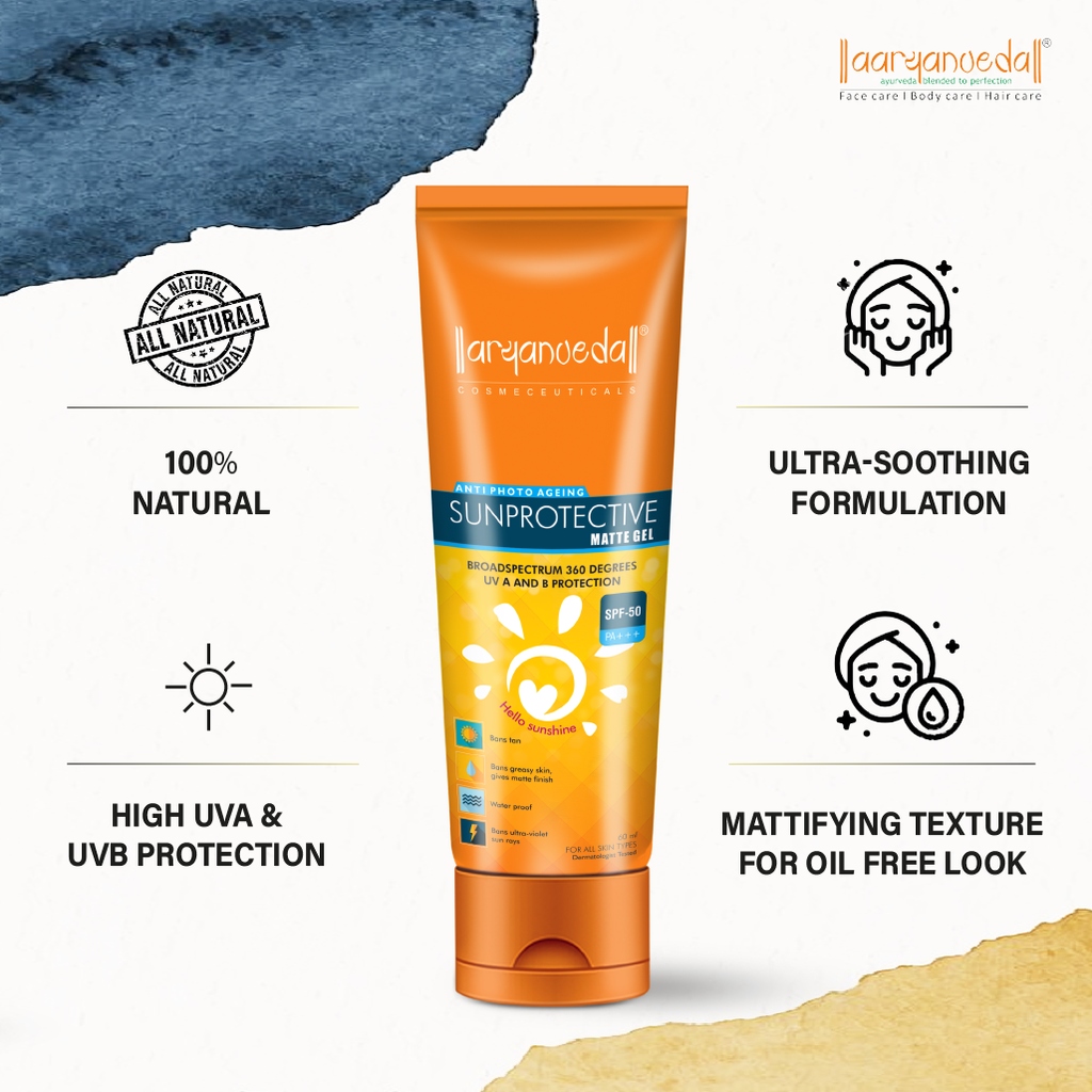 Aaryanveda Sunscreen Lotion (SPF 50) -60ml Gel Based Formula - prevent uva and uvb rays from damaging your skin