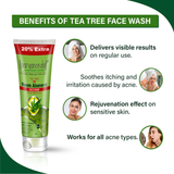 Tea Tree Face Wash - 120ml Herbal & Natural- No Parabens, Sulphate, Silicones & Color -For Pimple Free Skin