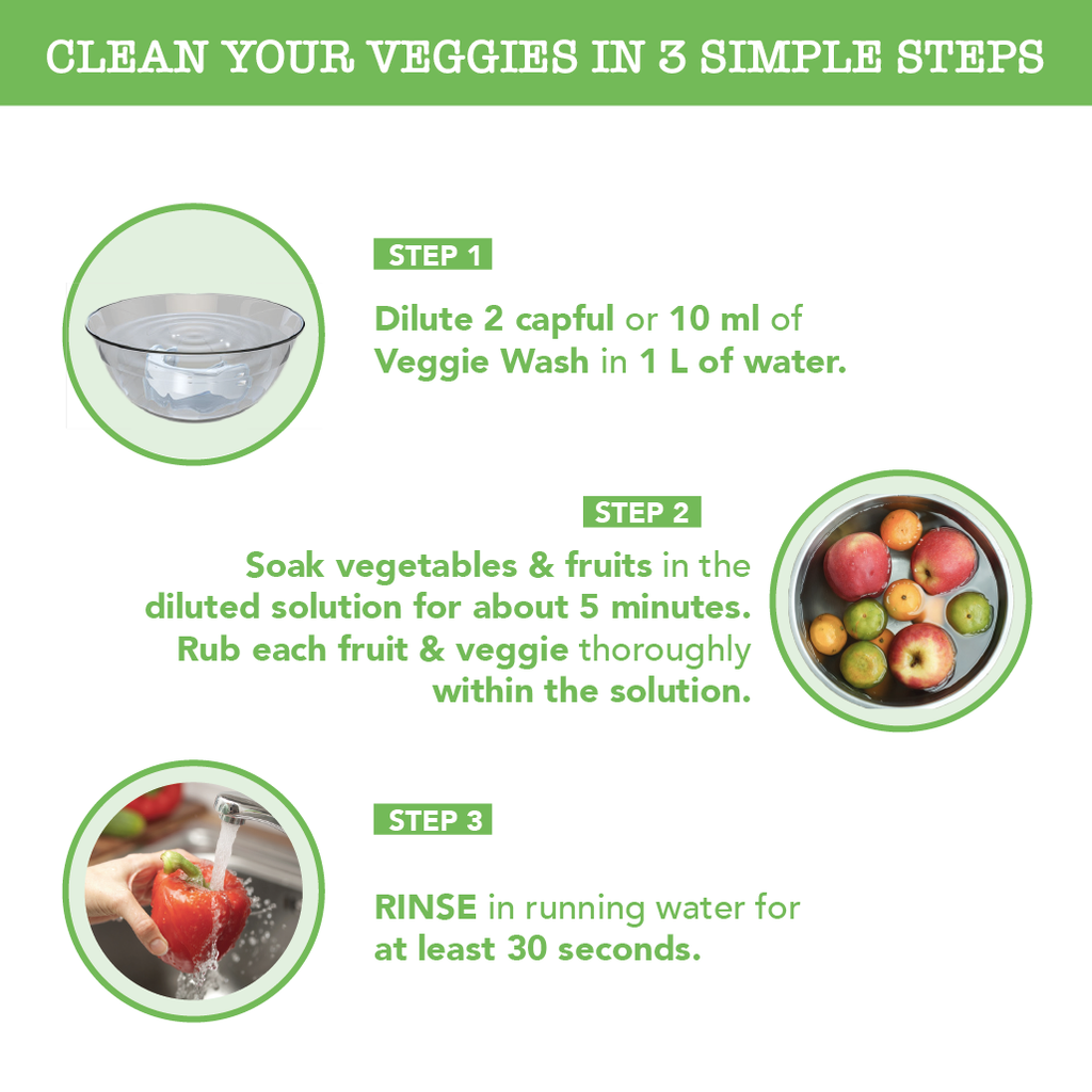Veggie Wash 200ml - Scientifically proven to remove germs, pesticides & waxes