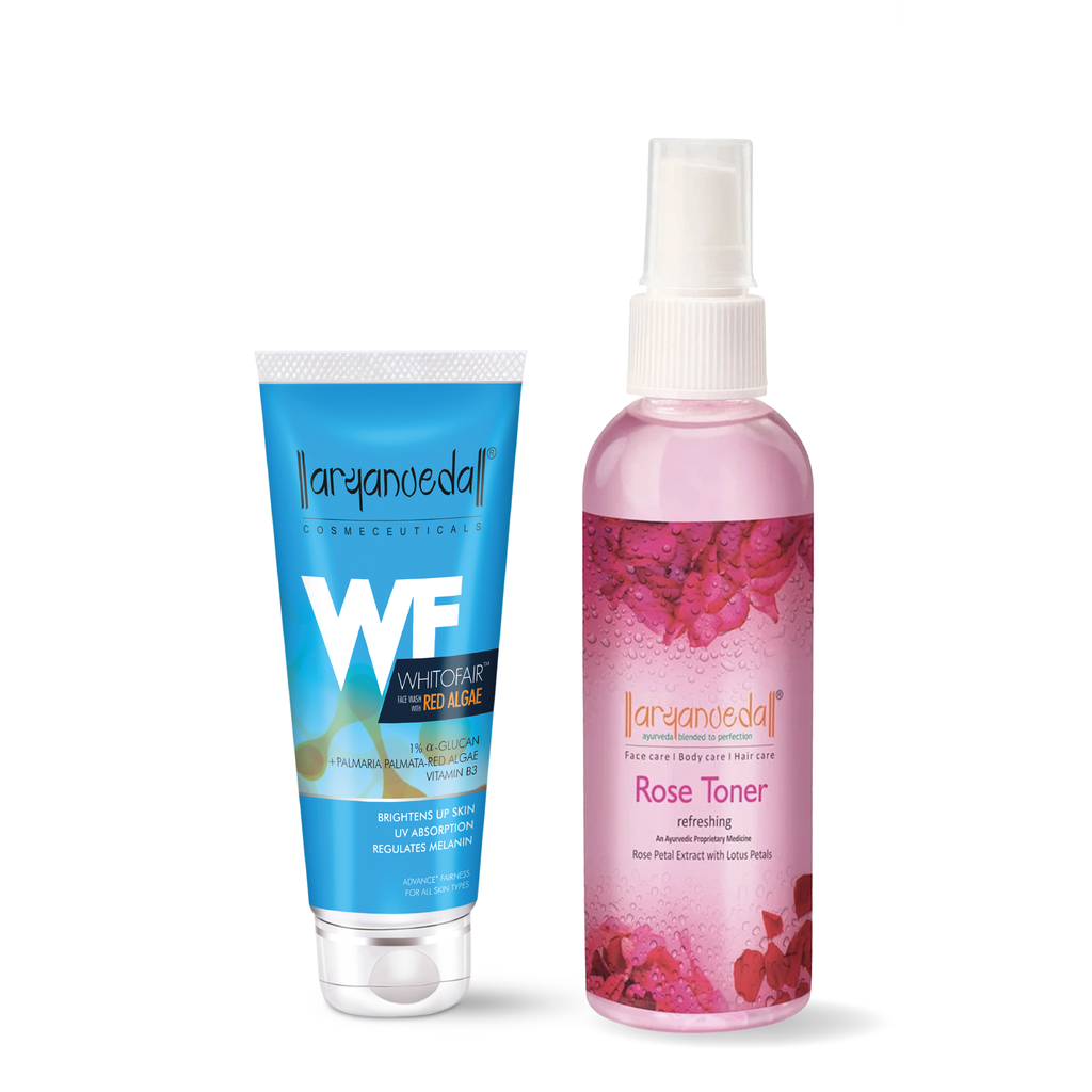 Whitofair Face Wash+Rose Toner Combo Pack - Ayurvedic & Natural- No Parabens, Sulphate, Silicones & Color -For Brighten Skin