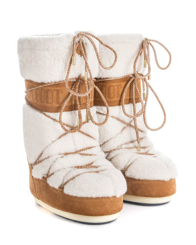 Moon Boot Wool in Sand and Off-White