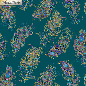 Peacock Flourish - Floating Feathers Small Teal
