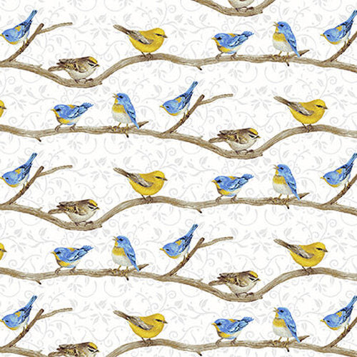Hydrangea Birdsong Collection- Birds on a Branch White