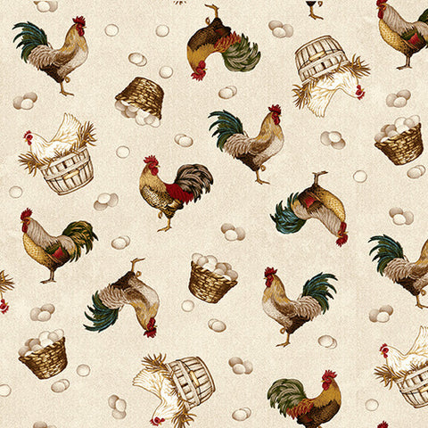 Roosters and Hens Cream- Count your Blessings By Henry Glass Studios