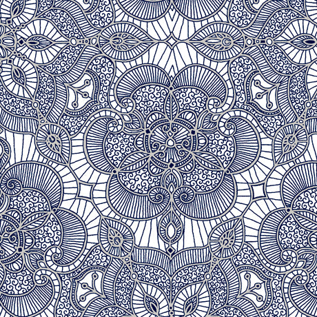 Luminous Lace- Lace Medallion-White Navy