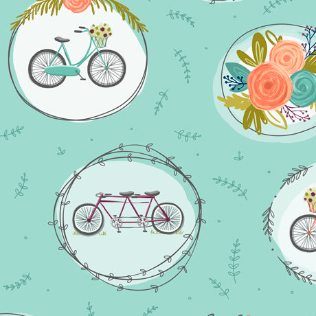 Scenic Route-Bike and Floral Medallions-Aqua