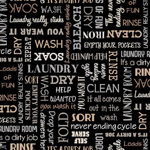 Loads of Fun - Laundry Words Black