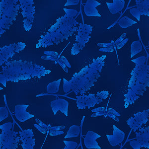 Midnight Hydrangea- Navy and Dragonfly