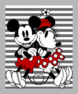 Mickey & Minnie Striped Panel