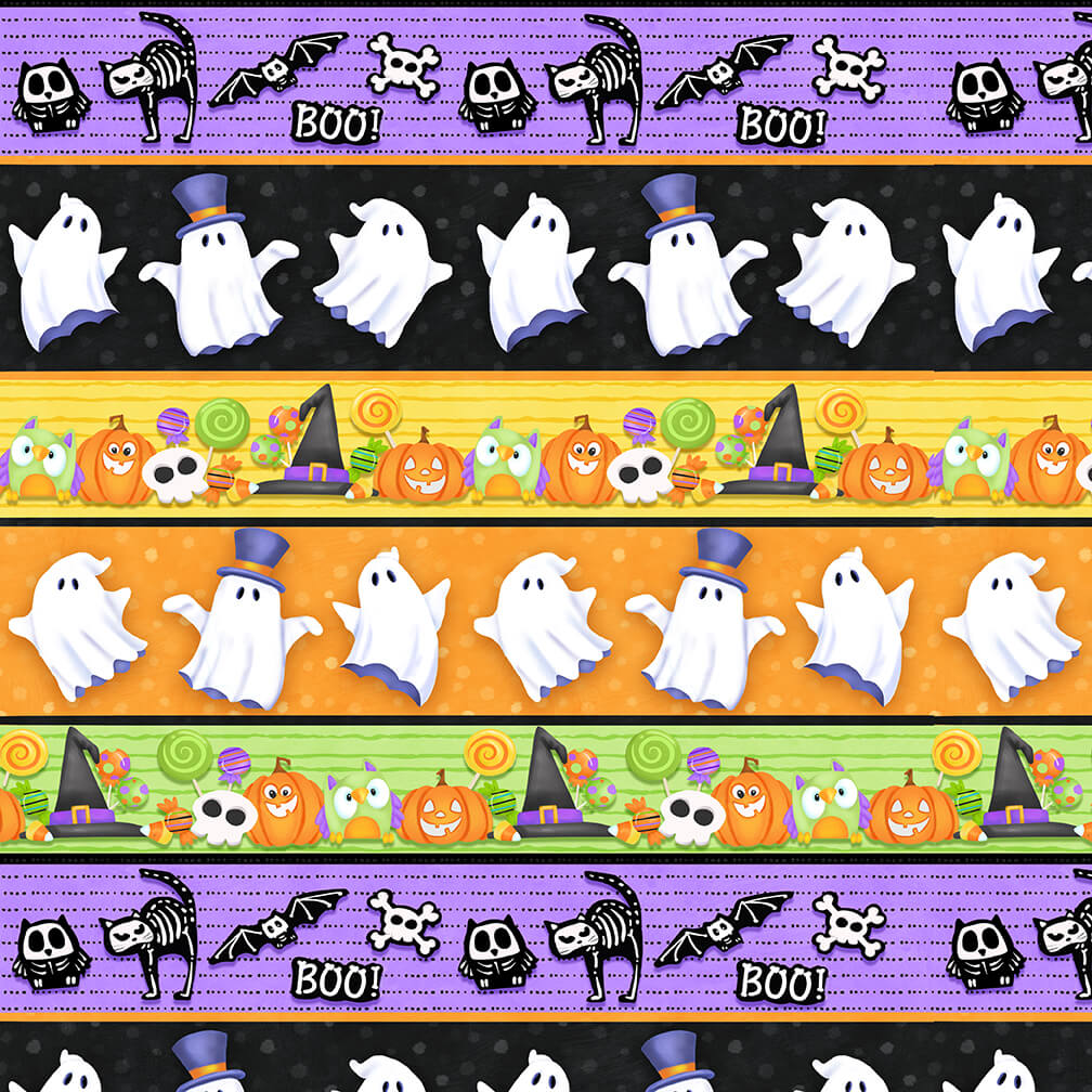 Glow Ghost - Tossed Ghosts, Pumpkins and Candy Black