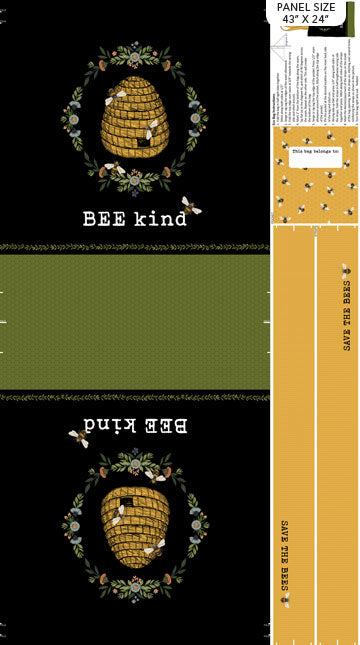 Bee Kind- Bag Panel