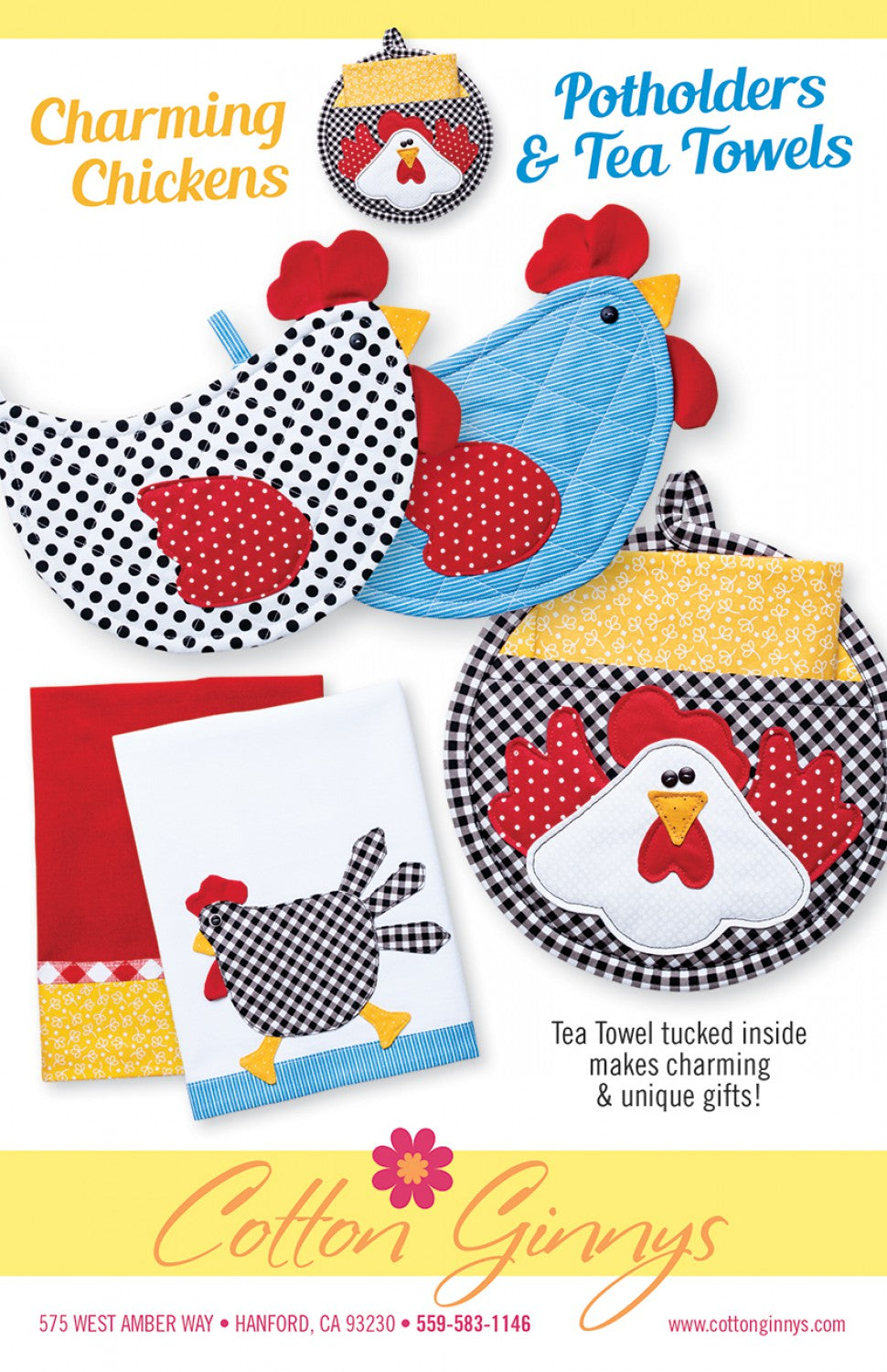 Happy On The Farm Potholders & Tea Towels Pattern