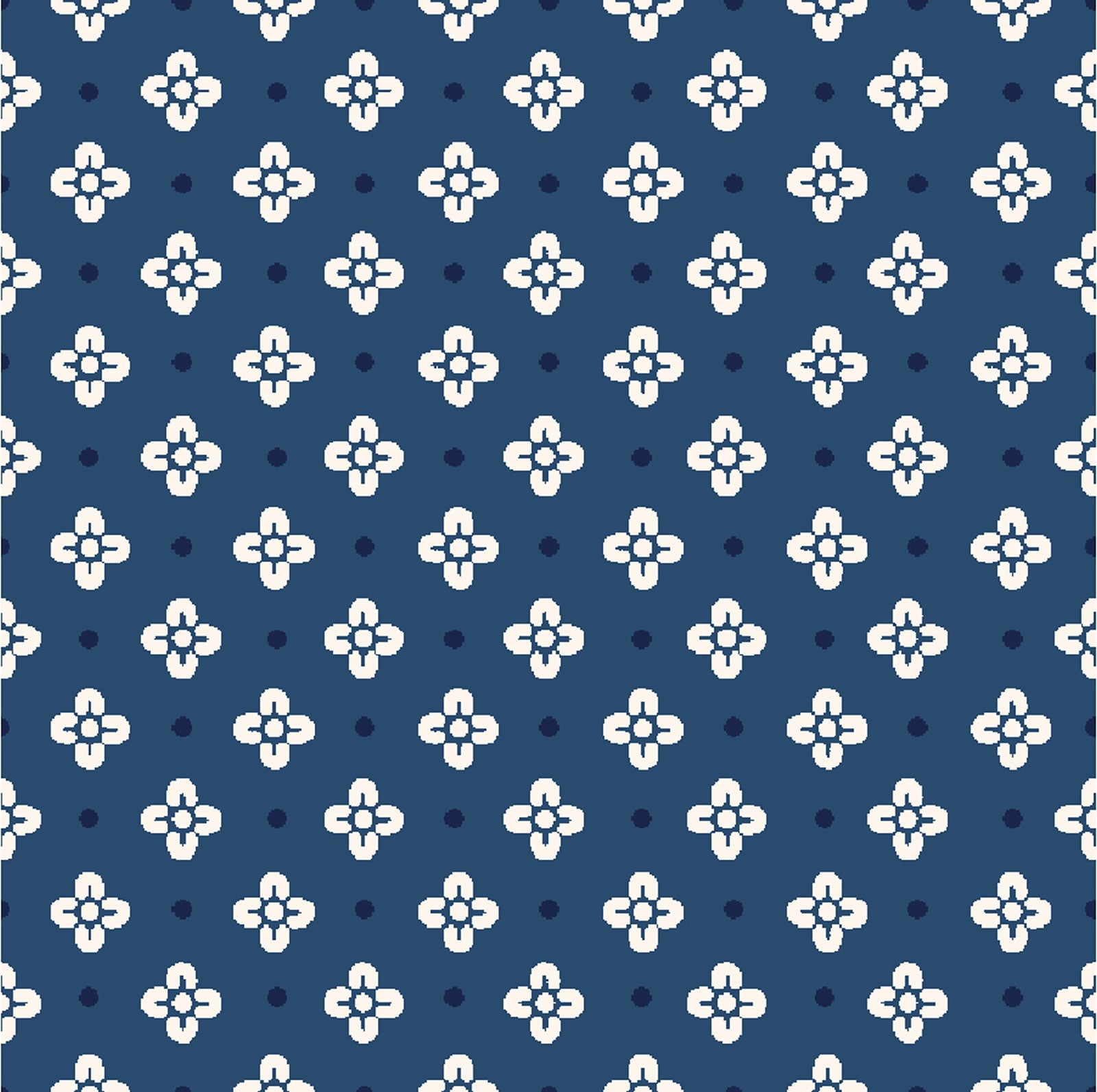 Dynasty Collection- Flowers on Point Indigo