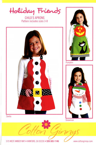 Holiday Friends Child's Aprons Pattern By Cynthia Rose