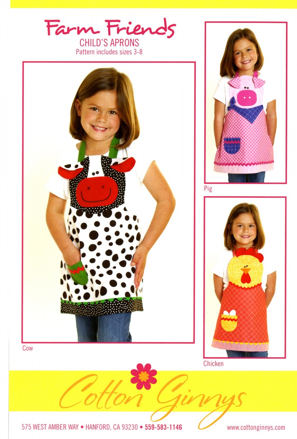 Farm Friends Child's Apron Cow, Pig & Chicken Pattern By Cynthia Rose