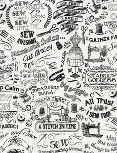 Sewing Motif By Timeless Treasures-Sewing Chalk Words