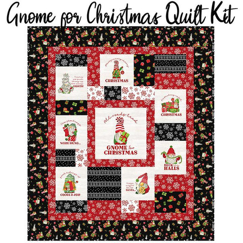 Gnome for Christmas Flannel Quilt Kit - Red