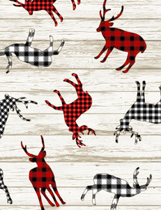 I'll Be Home for Christmas Collection- Buffalo Plaid Deer Decals