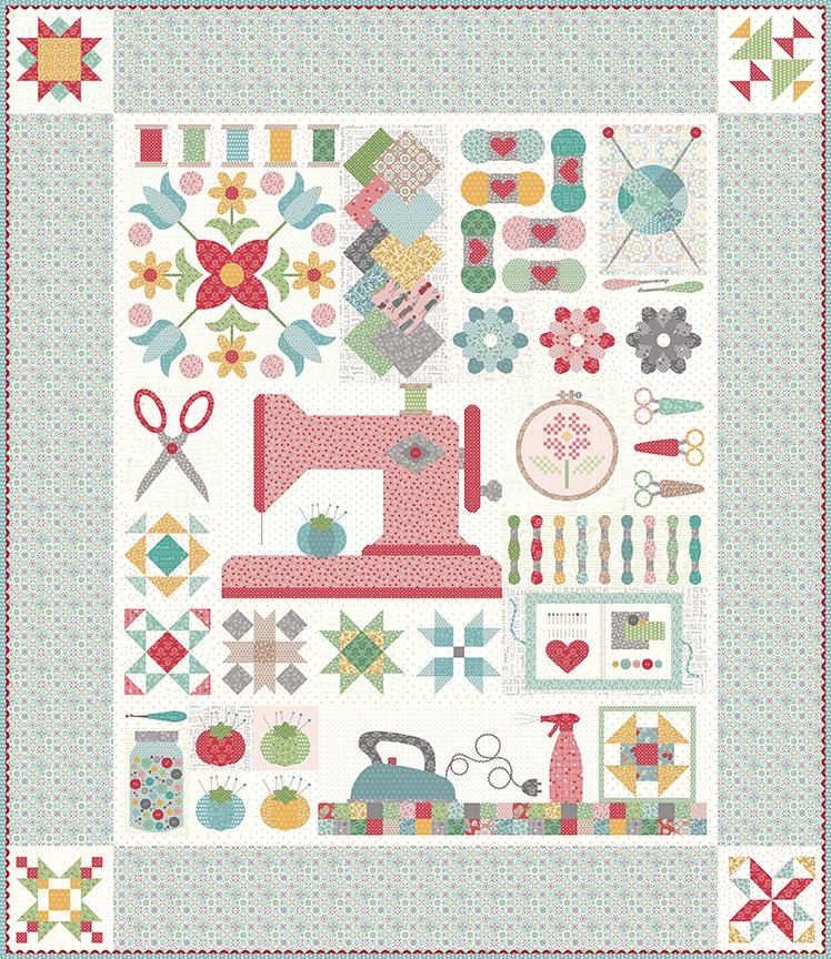 PREORDER! Reservation Fee. My Happy Place - Lori Holt Sew Along Quilt Kit - STITCH fabrics - Riley Blake -  Expected to ship JULY 2021