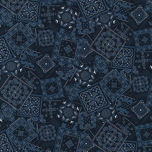 Sevenberry Collection-Navy Squares by Robert Kaufman