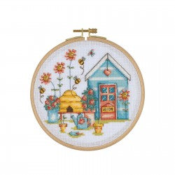 Cross Stitch Kit with Wooden Hoop-House and Beehive By Tuva Publishing