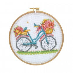 Cross Stitch Kit with Wooden Hoop-Bike with Flowers By Tuva Publishing