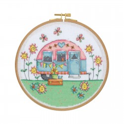 Cross Stitch Kit with Wooden Hoop-Vintage Camper By Tuva Publishing