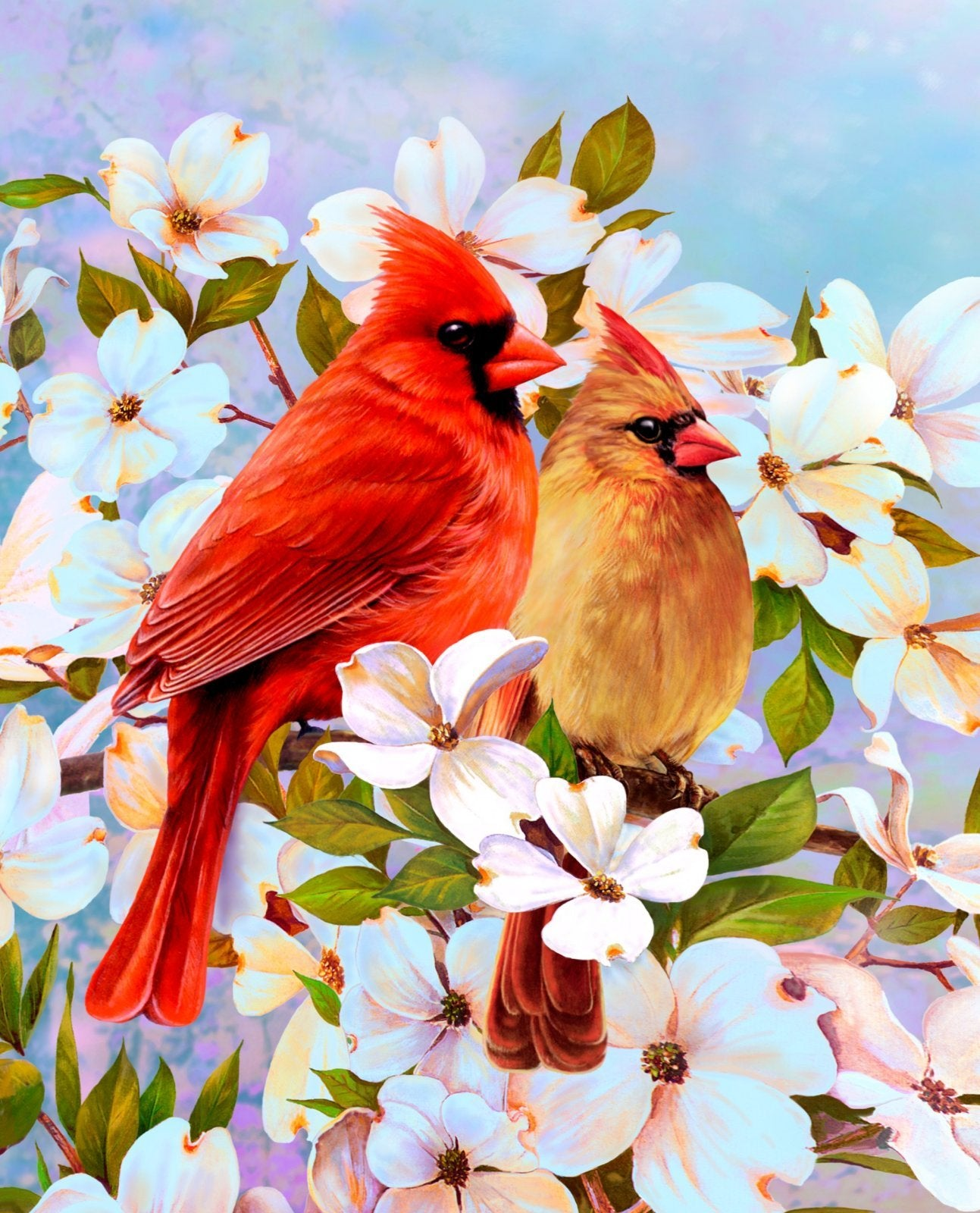Cardinal And Dogwood - Digital Panel