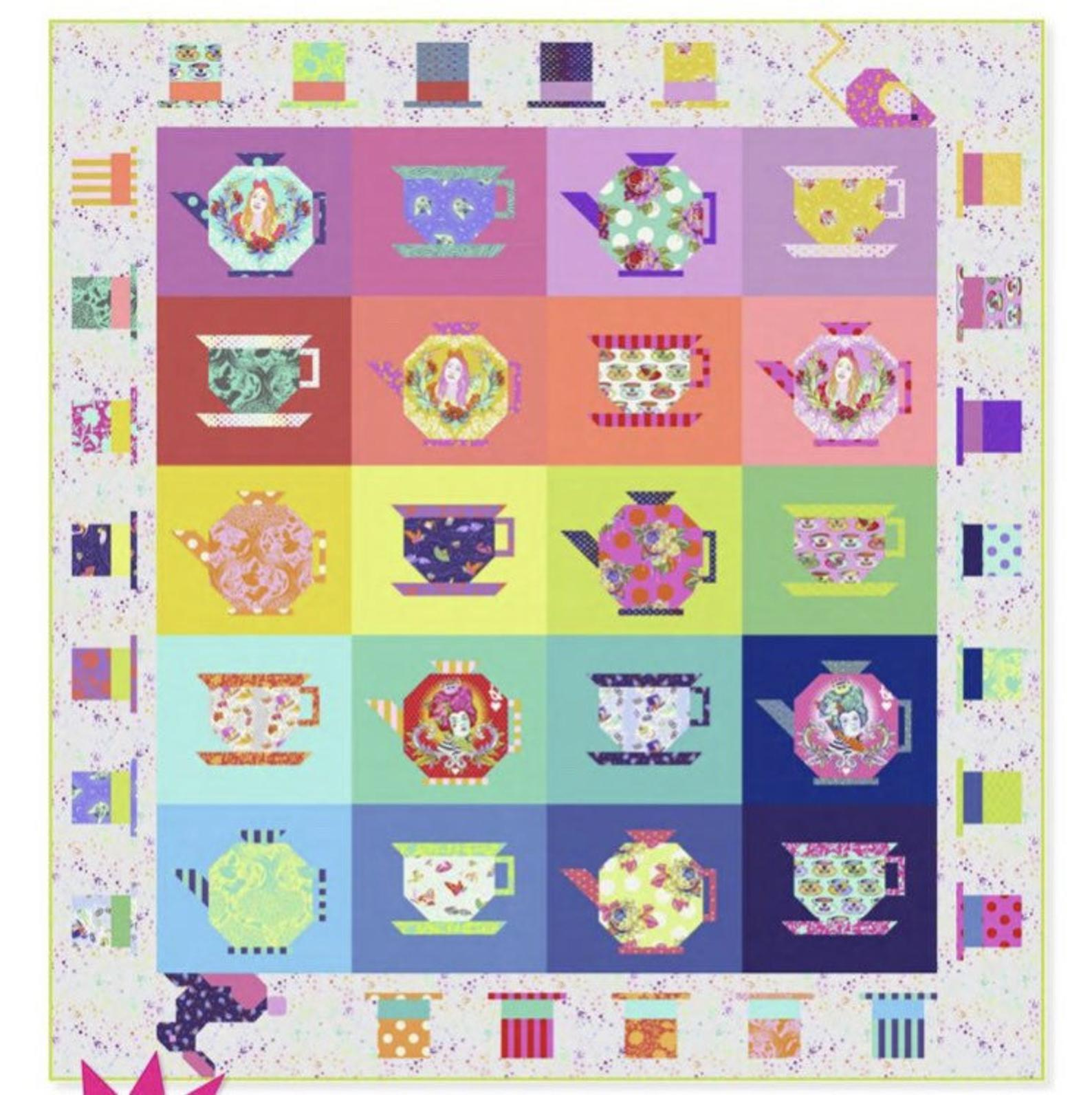 Curiouser  Tea party- Quilt Kit PRE- ORDER Available end of April / MAY