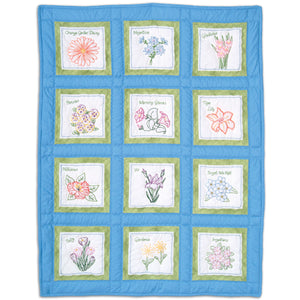 Flowers 9″ White Quilt Block - Prestamped