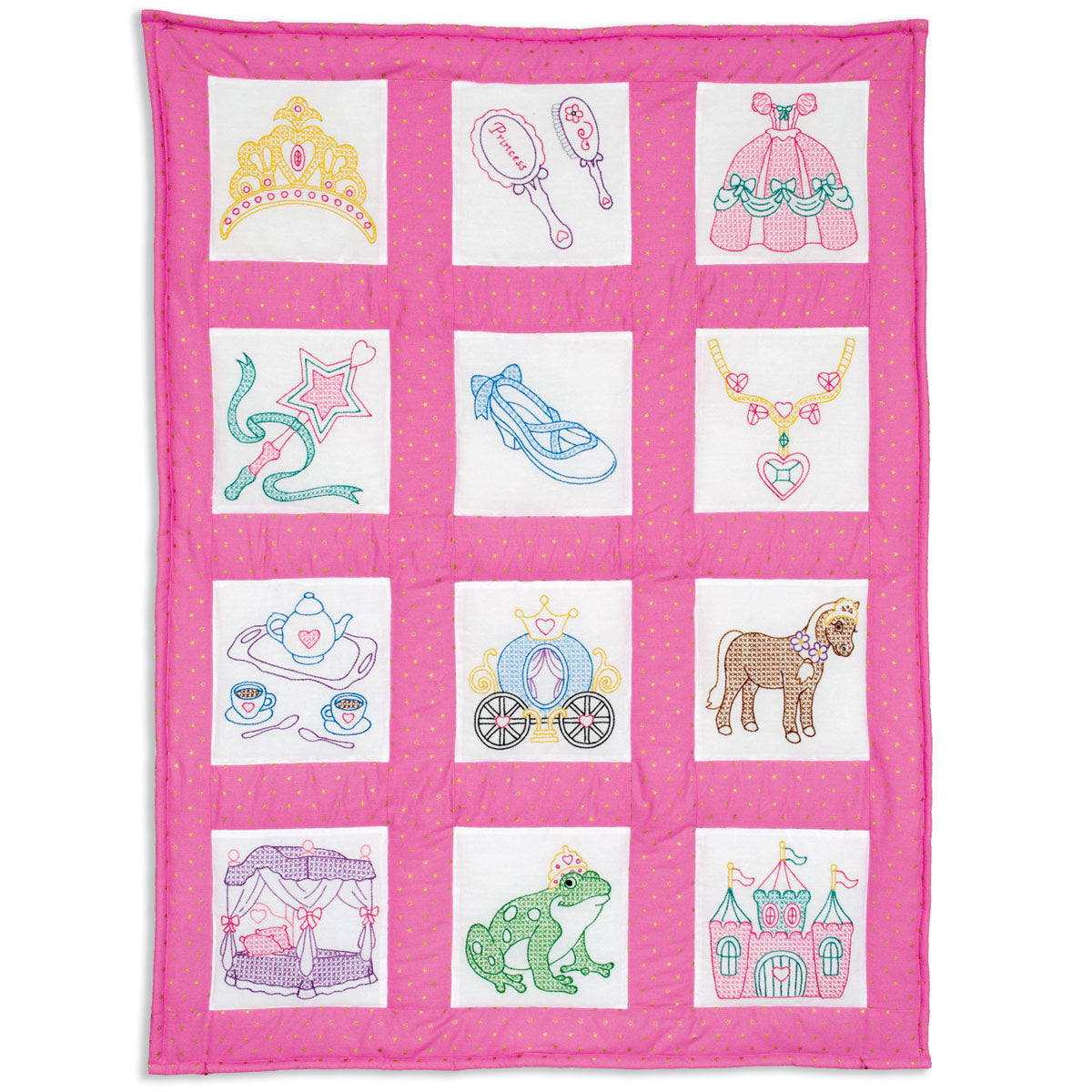 "Princess Theme 9"" Quilt Square -  Prestamped"