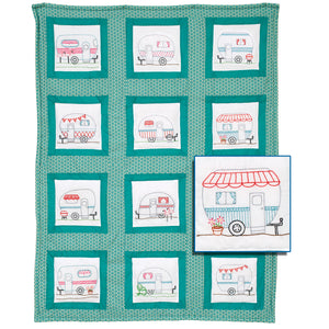 Happy Campers 9″ Theme Quilt Blocks - Prestamped