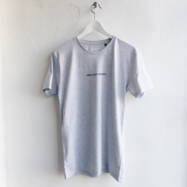 Mind your manners tee grey