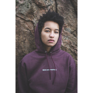 Mind your manners hoodie, burgundy