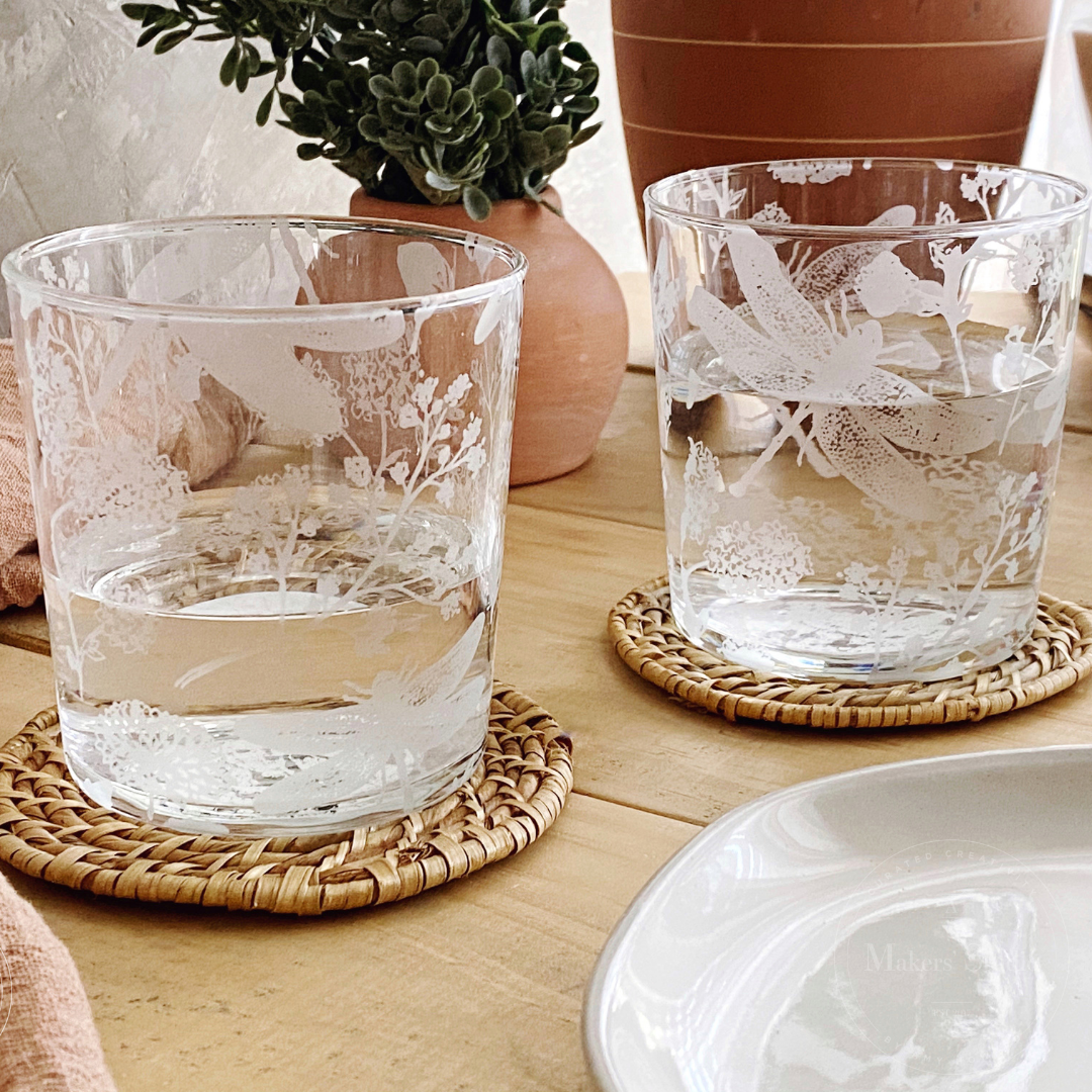 Glass Etched Dragonfly Glasses - A Target Hack!