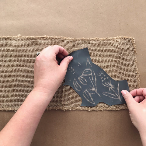 Using An Adhesive Mesh Stencil On Burlap | A Makers' Studio