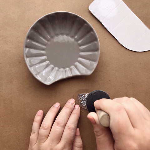 Applying Ceramic Paint To Stamp | A Makers' Studio