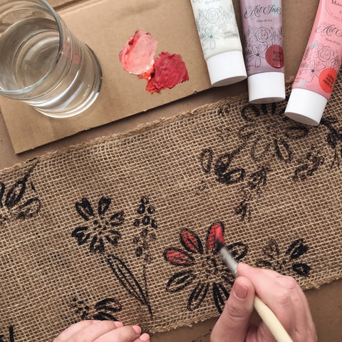 Hand Painted Burlap With Gel Art Ink | A Makers' Studio