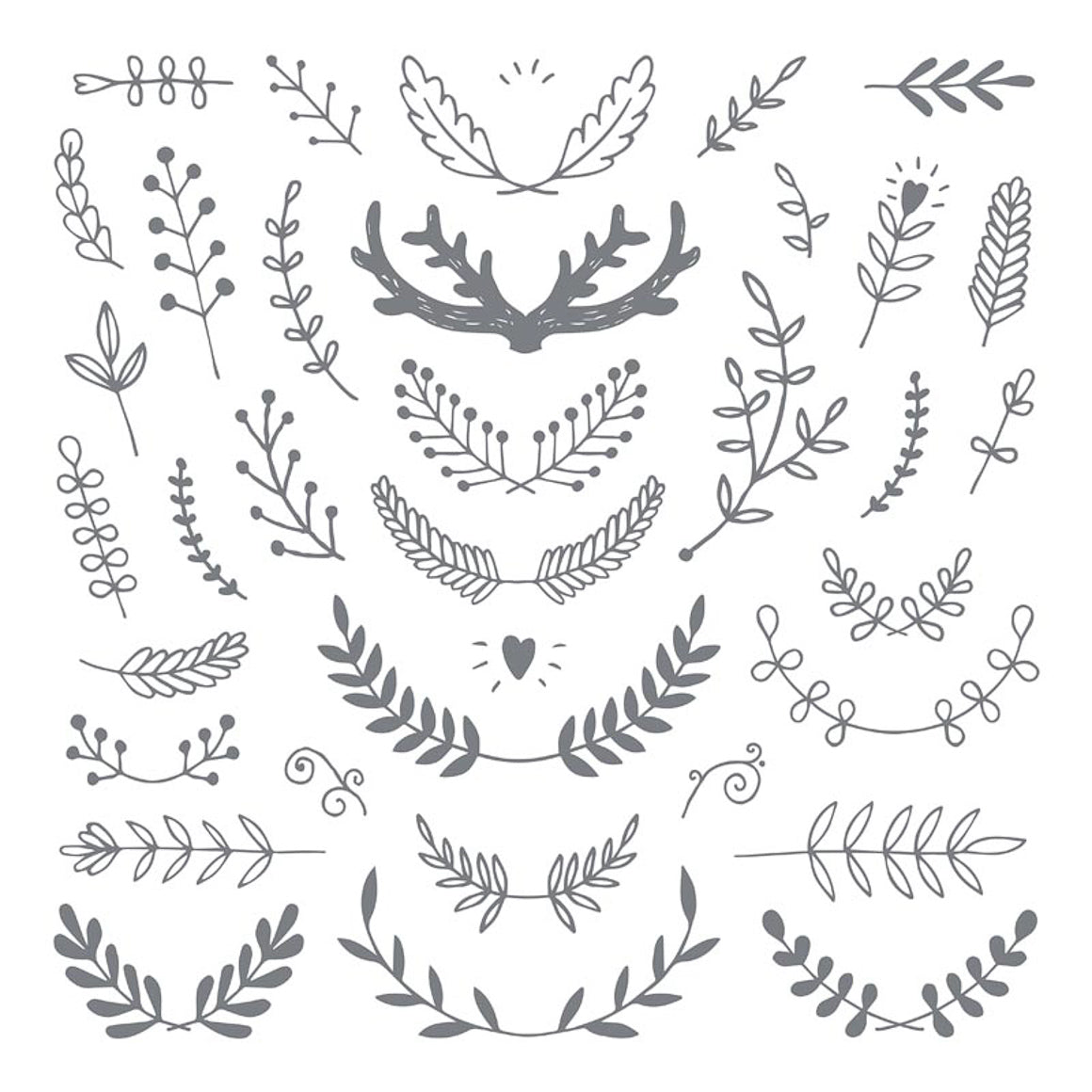 Clear Stamp - Antler & Branches - 12x12